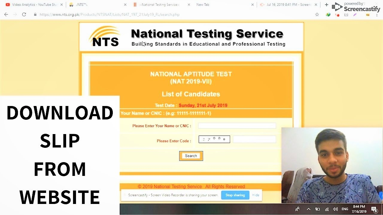 NTS Roll No Slip  2019  How to Download NAT/GAT Roll No Slip