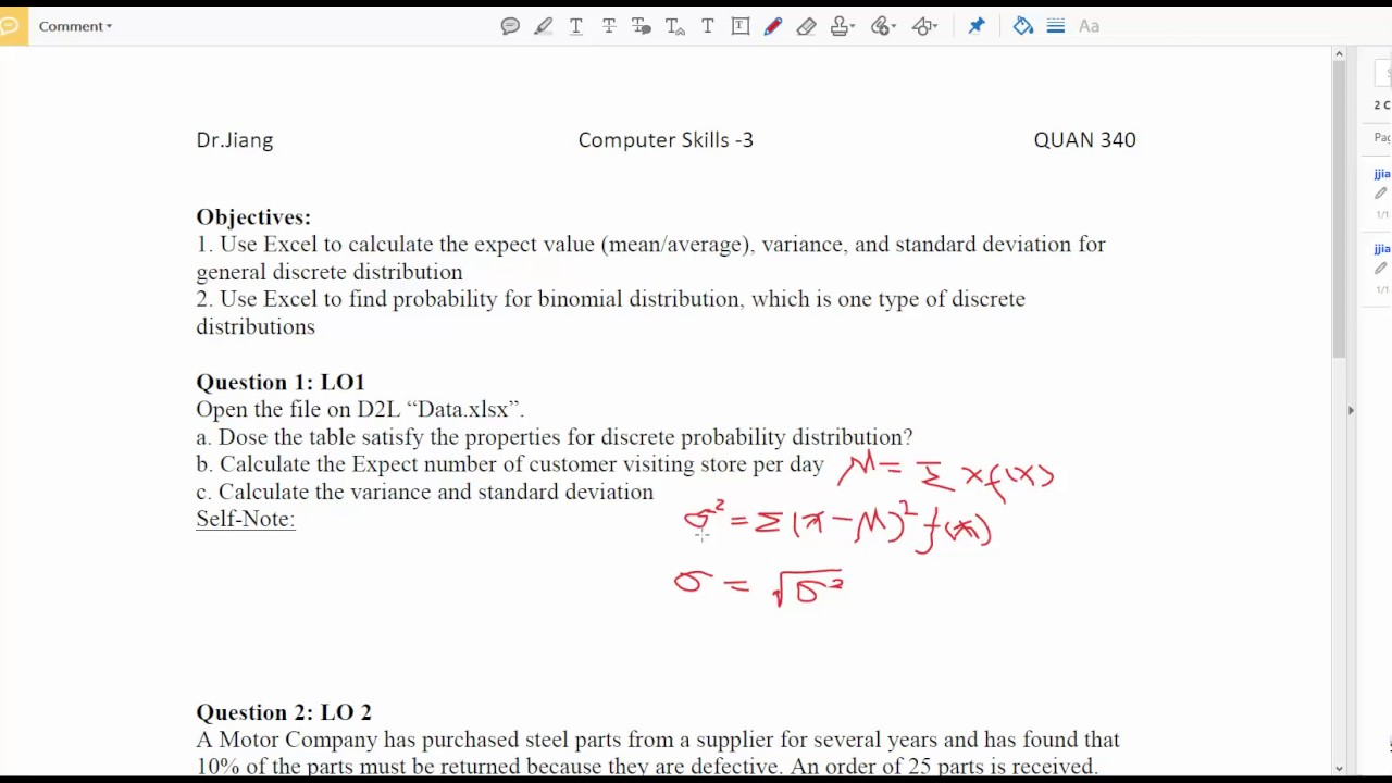 How To Use Excel To Calculate The Expected Value, Variance, Std For Discrete  Distribution