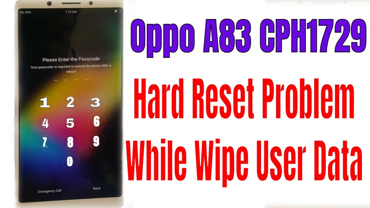 OPPO A83 CPH1729 Hard Reset Problem While Wipe User Data