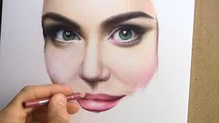 Портрет Ассоль цветными карандашами. Time-lapse video