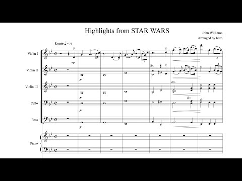 Highlights from 'STAR WARS' [String Orchestra with Piano] Sheet music