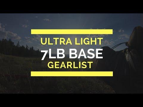 7 lbs Ultralight  Backpacking Gearlist