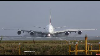 Airbus a380 landing This Is What Professionals pilots Do on wet runway thumbnail