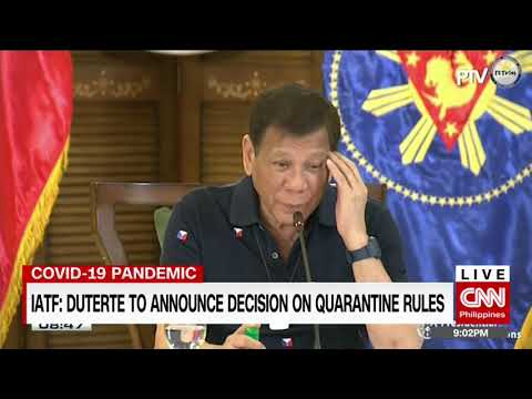 IATF: Duterte to announce decision on quarantine rules