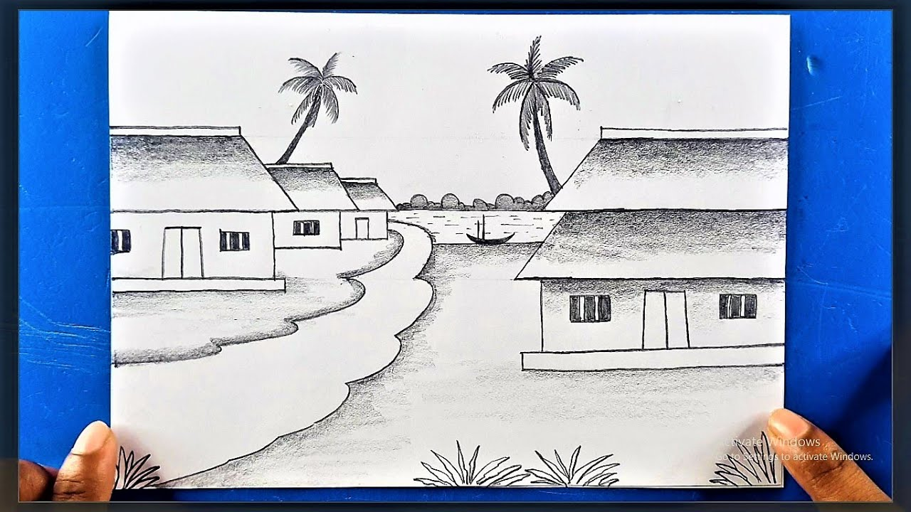 How to Draw A Village Scenery   Easy Drawing For Beginners   Pencil Drawing