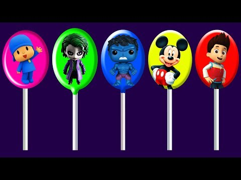 Thumbnail: Pocoyo, Joker, Hulk, Mickey Mouse, Ryder Lollipops Colors Learn Finger Family Song