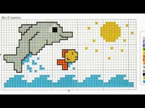 Patrones para punto de cruz especial delfines II | Aprende a hacer ...