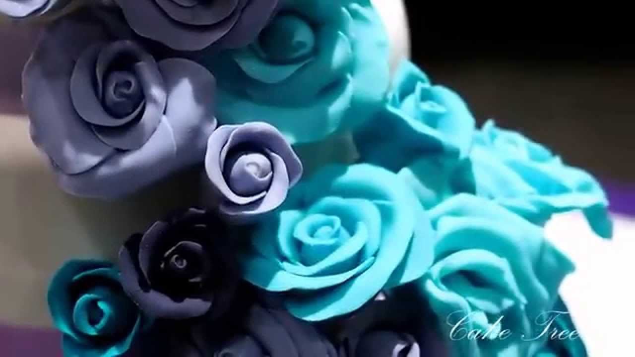 Wedding Cake - Cascading Roses in Shades of Purple and Aqua Blue ...