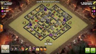"""Clash Of Clans 3star war attack Govaho TH9 """"ring base"""" Bullemann vs winthrope (July 2016)"""