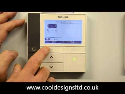 Access or clear alarm history on a Toshiba RBC-AMS51 Controller