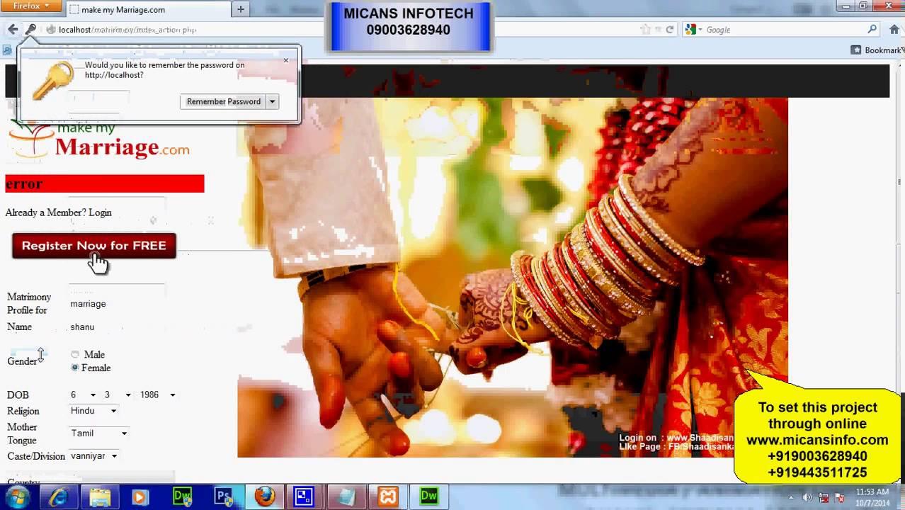 Matrimonial website php and mysql database.