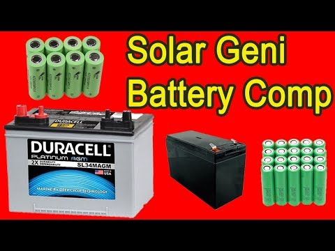 Battery Comparison Lithium 18650, Lifep04, AGM Deep Cycle, Sealed Lead Acid