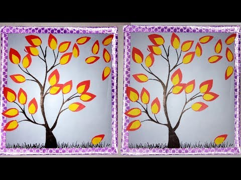 Diy: wall decor tree with leaves / craft from waste material/craft with paper