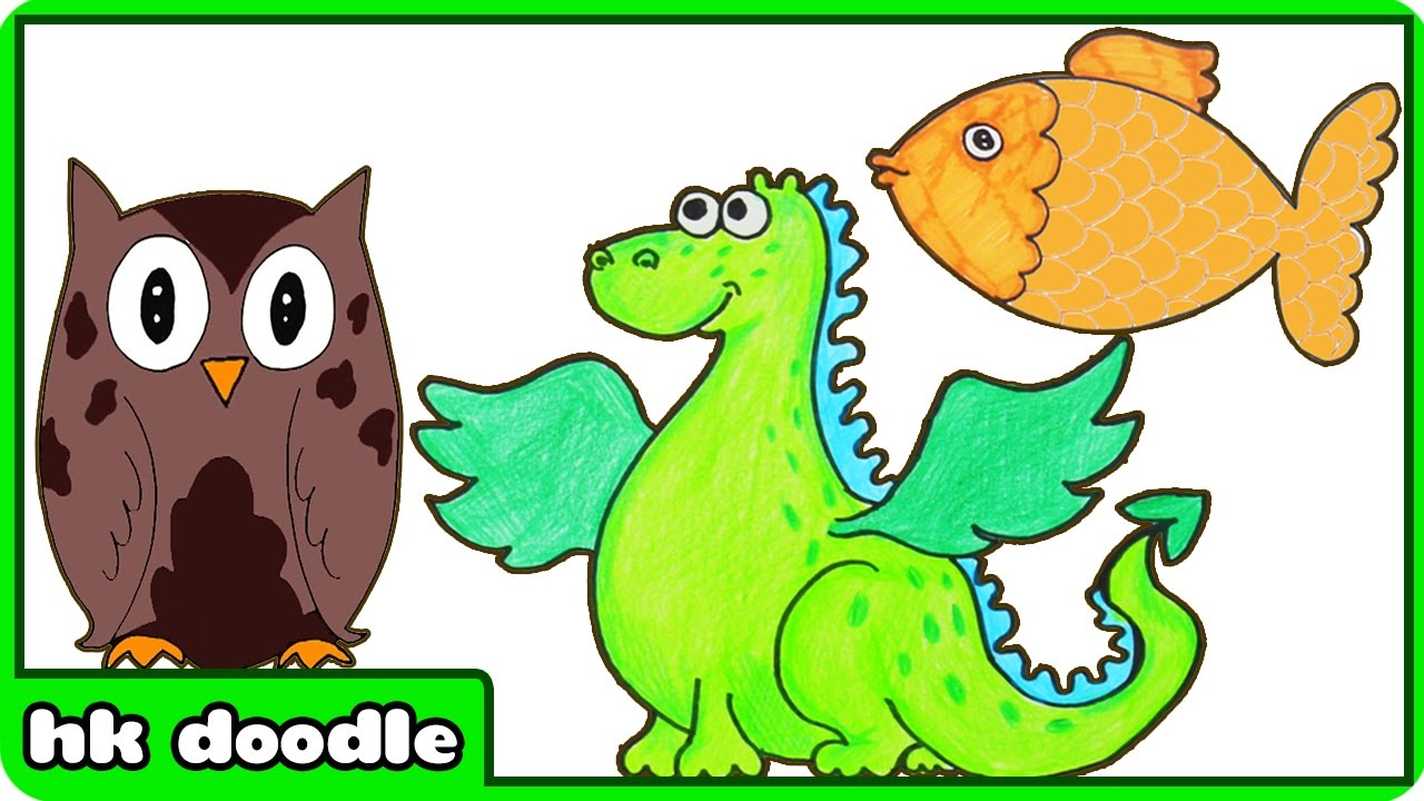 10 easy animal drawings for kids vol 2 step by step drawing tutorials how to draw cute animals youtube
