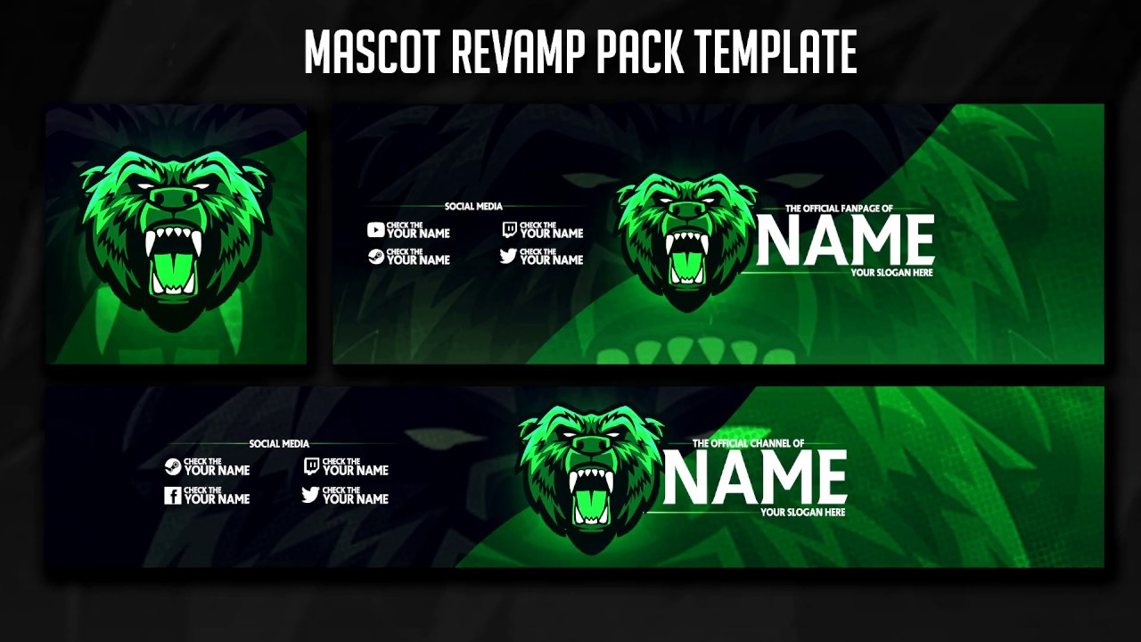 free insane mascot revamp pack template  gaming e