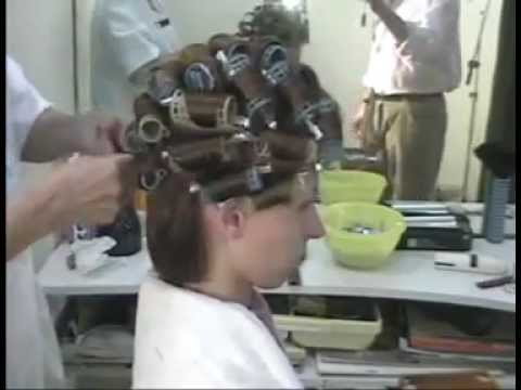 Brunette at the stylist: hair wet set rollers and makeover