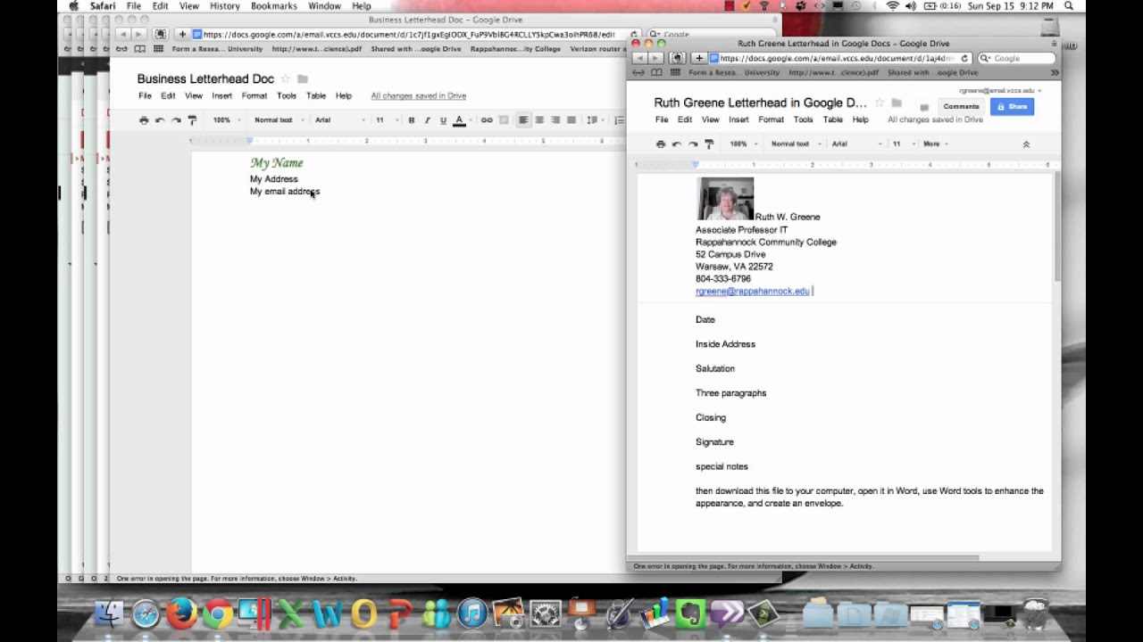 Google Docs Business Letter Basics
