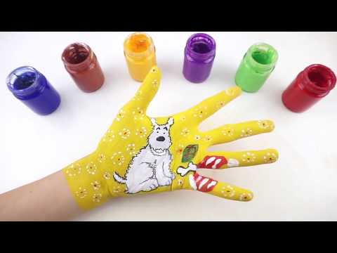 Learn Colors Hand Body Paint Nursery Rhymes Songs for Kids & How to Draw a Dog