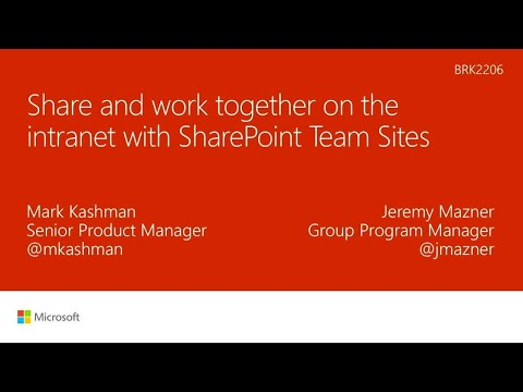Share and work together on the intranet with SharePoint Team Sites