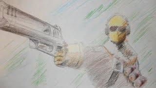 Raptor Fortnite Drawing Timelapse (Fortnite Battle Royale #36)