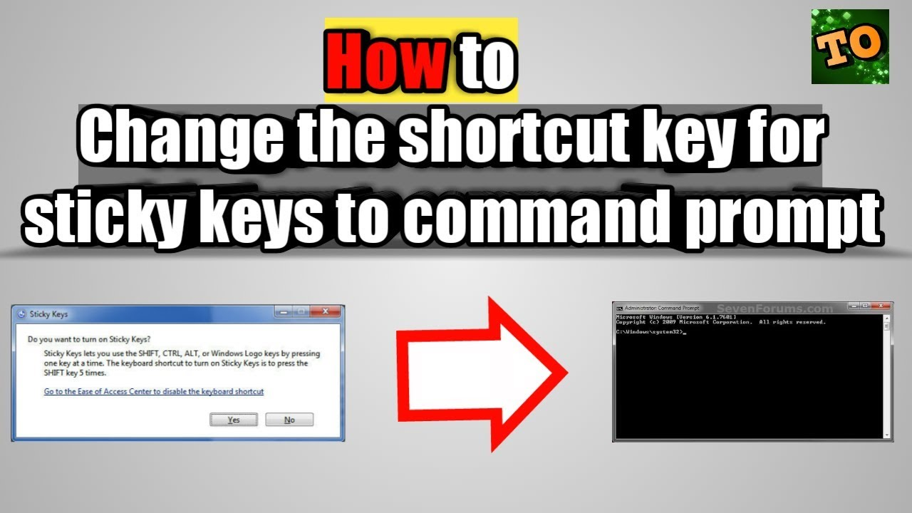 How to change the access of sticky keys to command prompt || Sticky keys to  command prompt