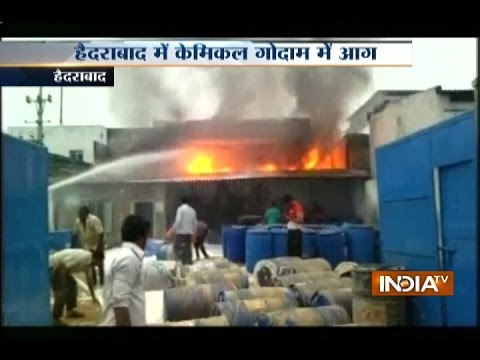 Major Fire Engulfs Chemical Godown in Hyderabad