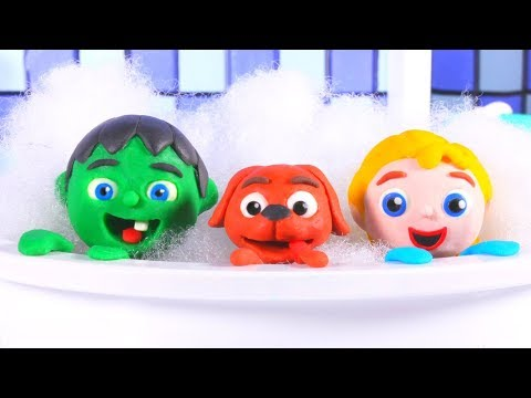 SUPERHERO BABIES BATH THE DOGGY ❤ SUPERHERO BABIES PLAY DOH CARTOONS FOR KIDS
