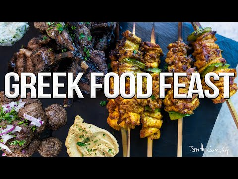 Greek Food Feast – Ft. Grilled Chicken, Lamb + Beef! | SAM THE COOKING GUY 4K