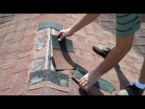 Small Asphalt Shingles Ridge Cap Roofing Repair - Terminating Ridge Shingles