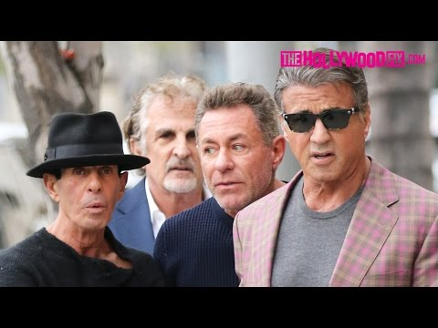 Sylvester Stallone Hangs Out With Friends On The Street In Downtown Beverly Hills 1.23.16