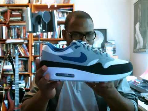 low priced 00ba5 68019 Nike Air Max 1 White Gym Blue-Light Pumice   Quick Deals