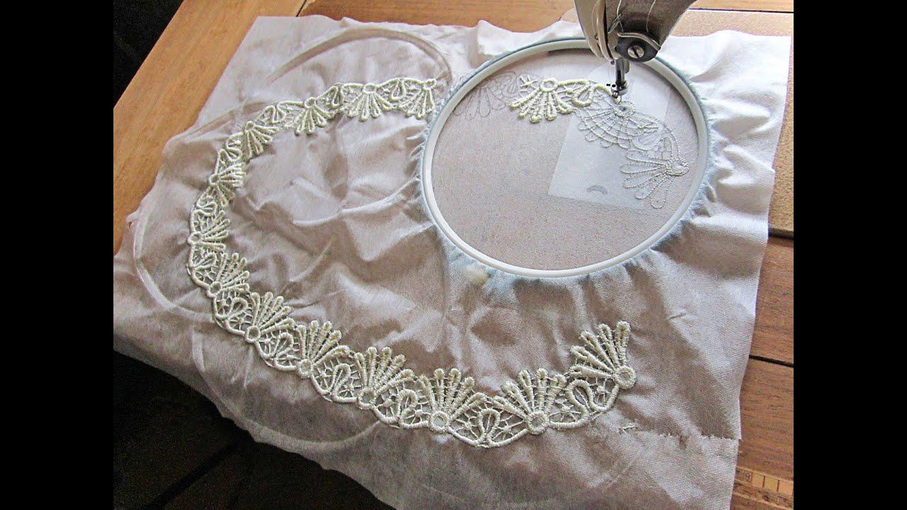Сделать вышивку на кружеве
