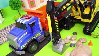 Escavadora, caminhão de lixo, Carrinho de bombeiros , Caminhões de lixo e carros - Excavator Toys