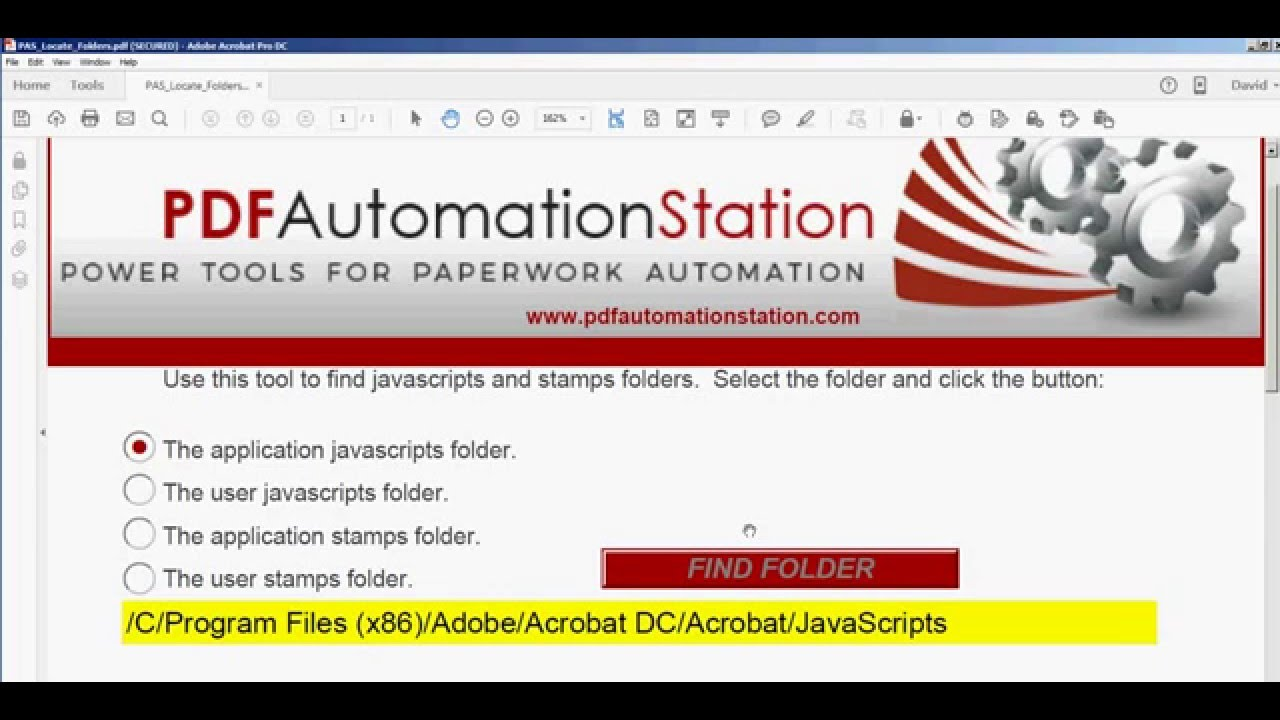 Javascripts - How To Put A Shortcut To The Acrobat Javascripts Folder On Your Desktop