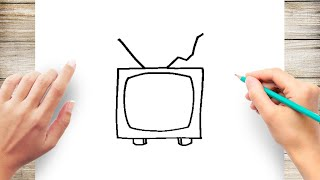 How to Draw a TV Step by Step for Kindergarten