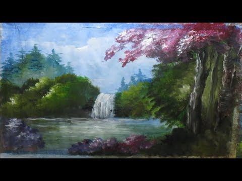 How to Draw Waterfall Beautiful | Acrylic Landscape Painting Lesson | Step By Step