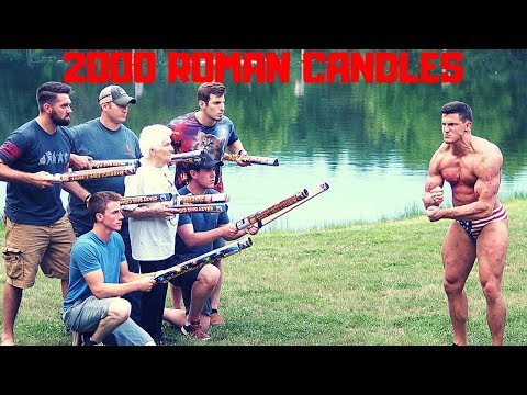 Shot with 2000 ROMAN CANDLES by Grandma | Bodybuilder VS Crazy Fireworks Challenge GONE WRONG