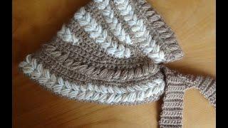 Шляпка-капор крючком . Часть 2. Cap-bonnet crocheted