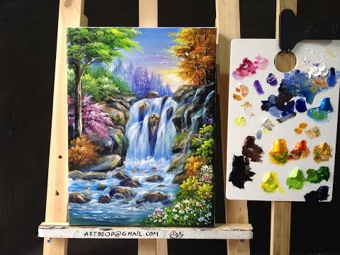 Colorful Waterfall Arylics Painting Lesson 4
