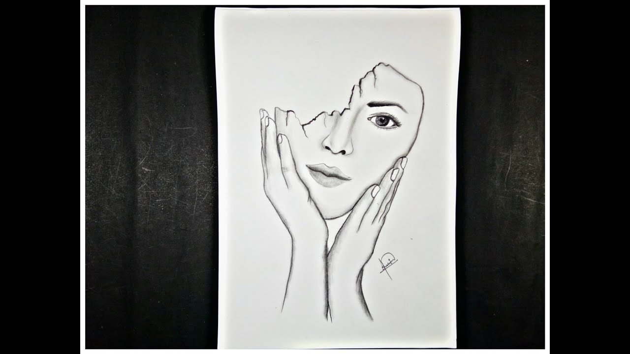 How To Draw Or Deep Meaning Drawing Girl Half Marks Face Meaningful Drawing Step By Step Youtube