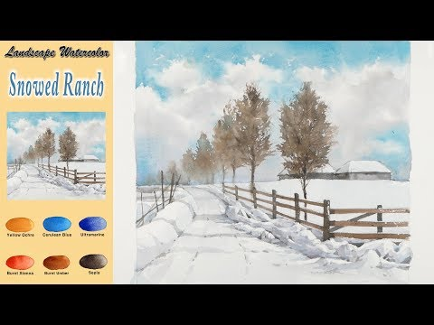 Basic Landscape Watercolor- Snowed ranch (wet-in-wet, Arches rough)NAMIL ART