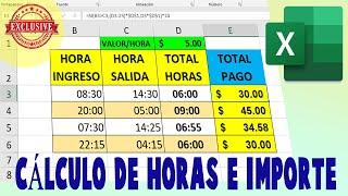 Cálculo de HORAS en Excel y Multiplicar por el valor de Hora