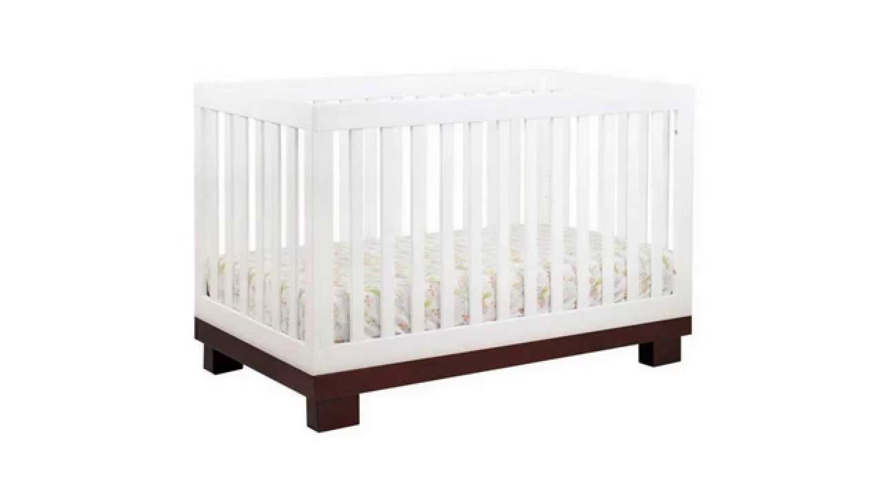 . babyletto modo  in  crib with toddler rail espressowhite  youtube