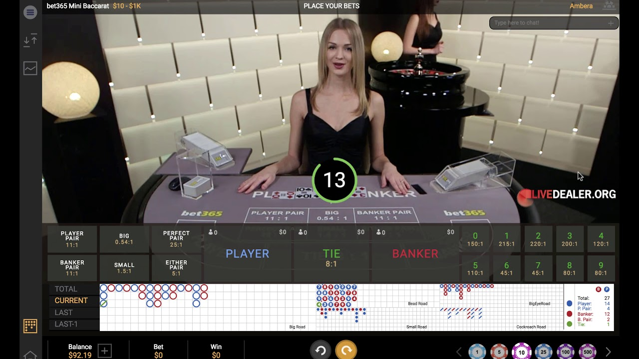 Live Mini Baccarat at bet365 - YouTube