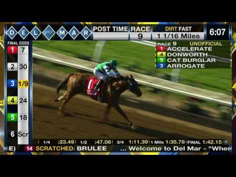 Accelerate wins TVG San Diego Handicap (Gr. II), (Race 9) at Del Mar 07/22/2017