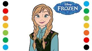 Frozen Anna Disney Princess Coloring Pages for Kids | Digital Coloring