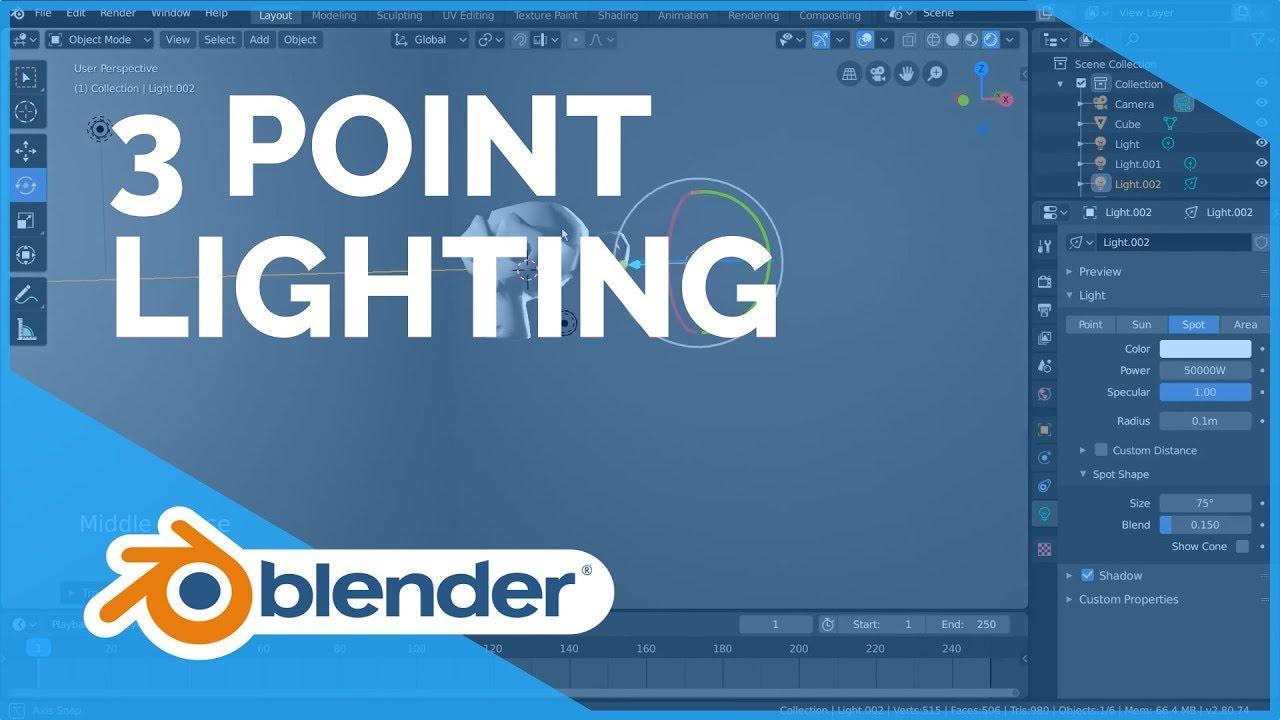 three point lighting blender 2 80 fundamentals