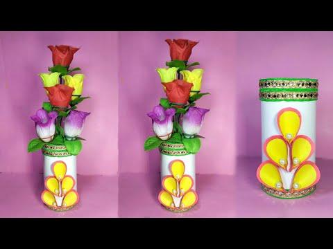 DIY Flower vase // Flower vase making with paper // Flower pot making at home
