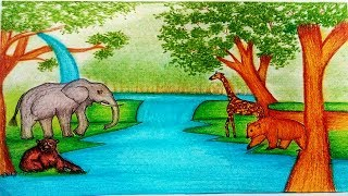 How To Draw Forest Scenery with Animals - Forest Scenery Drawing