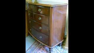 19thc!! Antique Bow Front Mahogany Chest Of Drawers...